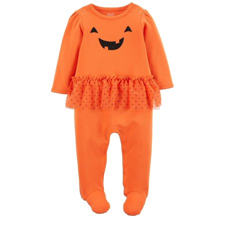 Carters Infant Girls Orange Pumpkin Tutu Sleeper Halloween Sleep N Play](Carters Halloween)