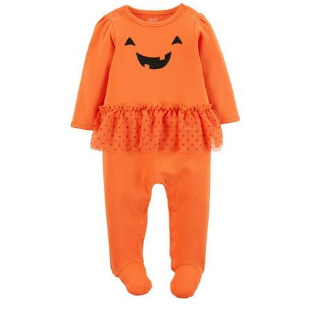 Halloween Onesies Carters (Carters Infant Girls Orange Pumpkin Tutu Sleeper Halloween Sleep N)
