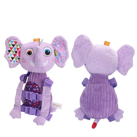Baby Safety Harness Walker Plush Cartoon Animal Anti-lost Strap Backpacks Shoulder Bag Purple Elephant