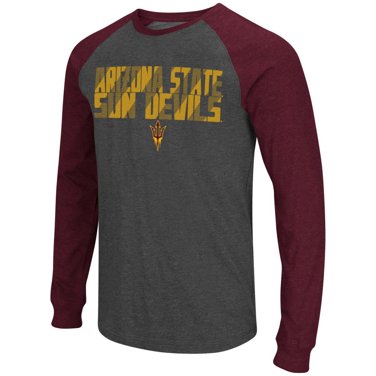 "Arizona State Sun Devils NCAA ""Olympus"" Long Sleeve Raglan Shirt - Charcoal"