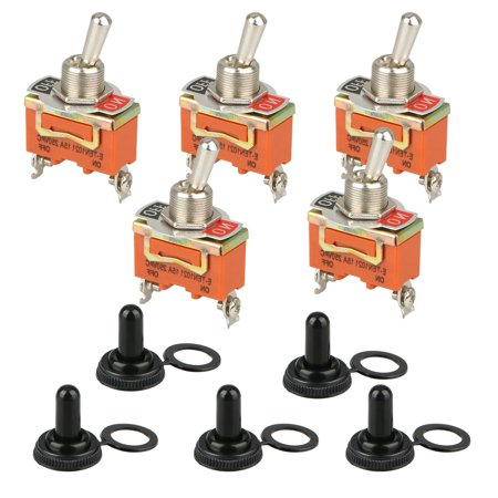 5-pack Heavy Duty Rocker Toggle Switch 30A 125V 15A 250V SPST Toggle, 2 Pin ON/OFF Switch Metal Bat Waterproof Boot Cap Cover