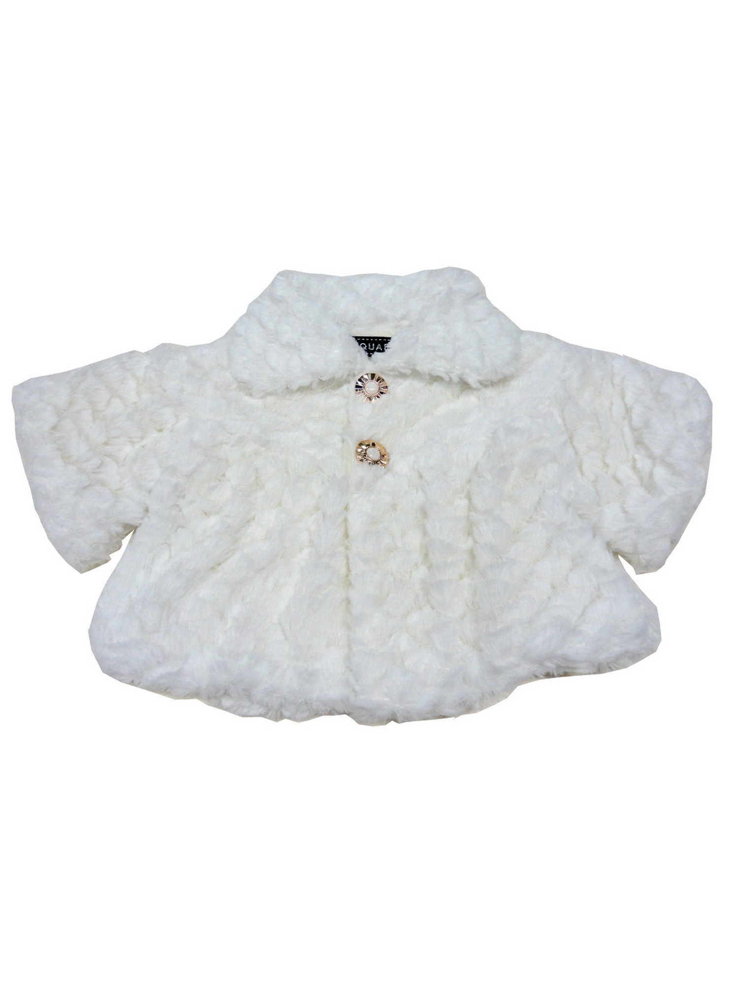 Baby Girls White Swirl Soft Texture Button Closure Faux Fur Jacket
