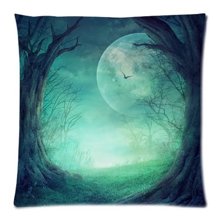 ZKGK Mysterious Horror Halloween Moon Tree Cloud Dark Pillowcase for Couch Bed 18 x 18 Inches,Moon Night Hole Tree Bird Star Shams Decorative Pillow Cover Case