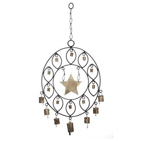 Wrought Iron Wall Hanging - storeindya Thanksgiving Gifts Wind Chimes Star Design Miniature Bells Wrought Iron Wall Door Hanging Home Decor Accessory Christmas Housewarming Ideas
