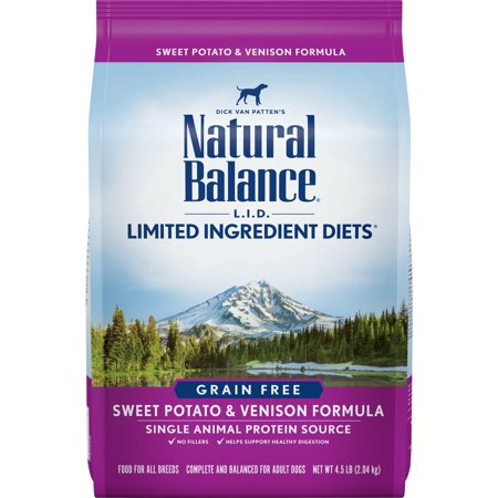- Natural Balance Limited Ingredient Grain-Free Sweet Potato & Venison Dry Dog Food, 4.5 Lb