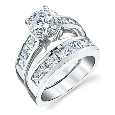 Sterling Silver Bridal Set Engagement Wedding Ring Bands with Round and Princess Cut Cubic
