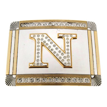 New Initial N Letter Alphabet Belt Buckle Western Cowboy Rodeo Gold Silver Shiny](Catwoman Belt Buckle)