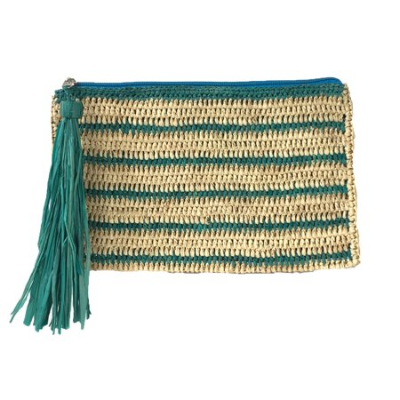 Mar Y Sol Kylie Striped Raffia Tassel Slim Clutch, Natural Turquoise