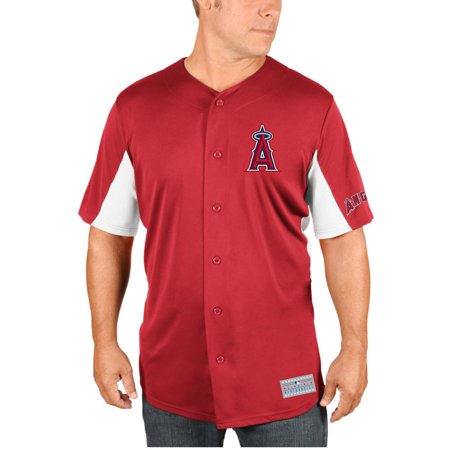 Mlb Anaheim Angels Mike Trout Mens Short Sleeve Button Jersey