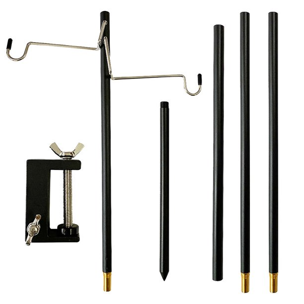 Camping Folding Lamp Pole With Stake, Outdoor Portable Lamp Post