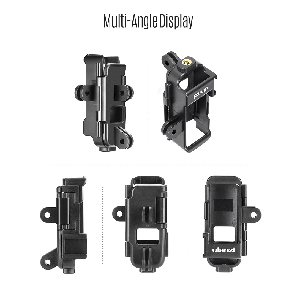 Ulanzi OP-7 Multifunctional Vlog Extended Housing Case for dji Osmo Pocket with Microphone Cold Shoe Mount 1//4 Inch Screw Mount 3 Camera Adapter for GoPro Accessories for Motovlog Helmet