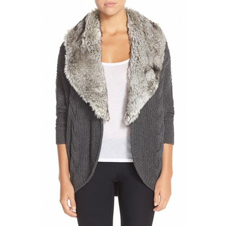 Nordstrom New Gray Faux Fur Womens Size Xs Cardigan Knit Sweater