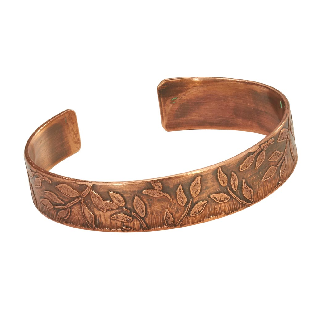 Women's Etched Leaves Handmade Copper Craft Cuff Bracelet