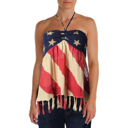 Denim & Supply NEW Beige Ruched American Flag Women's Size XL Tube Top