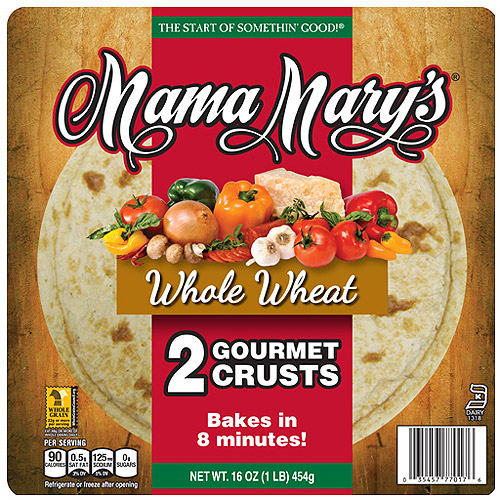 "Mama Mary's Gourmet 12"" 100% Whole Wheat w/Honey Pizza Crusts, 2 Ct"
