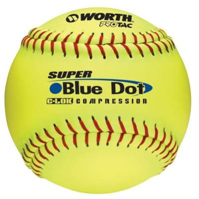"Worth 12"" Synthetic Blue Dot 47/525 Slowpitch Softball, 12 Pack"