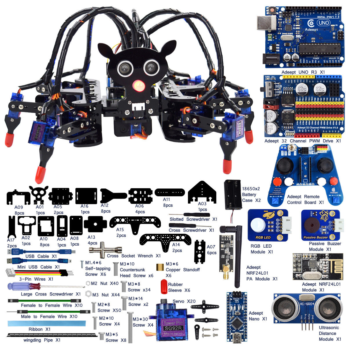 Adeept Hexapod 6 Legs Spider Robot Kit for Arduino UNO R3 by
