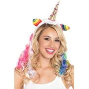 Gold Unicorn Horn Headband with Rainbow Wig Mane