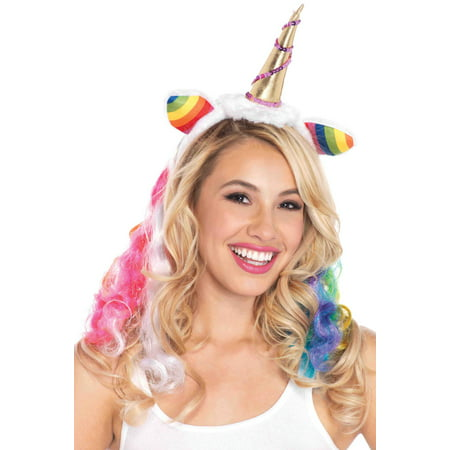 Gold Unicorn Horn Headband with Rainbow Wig Mane Hi Hat Tambourine