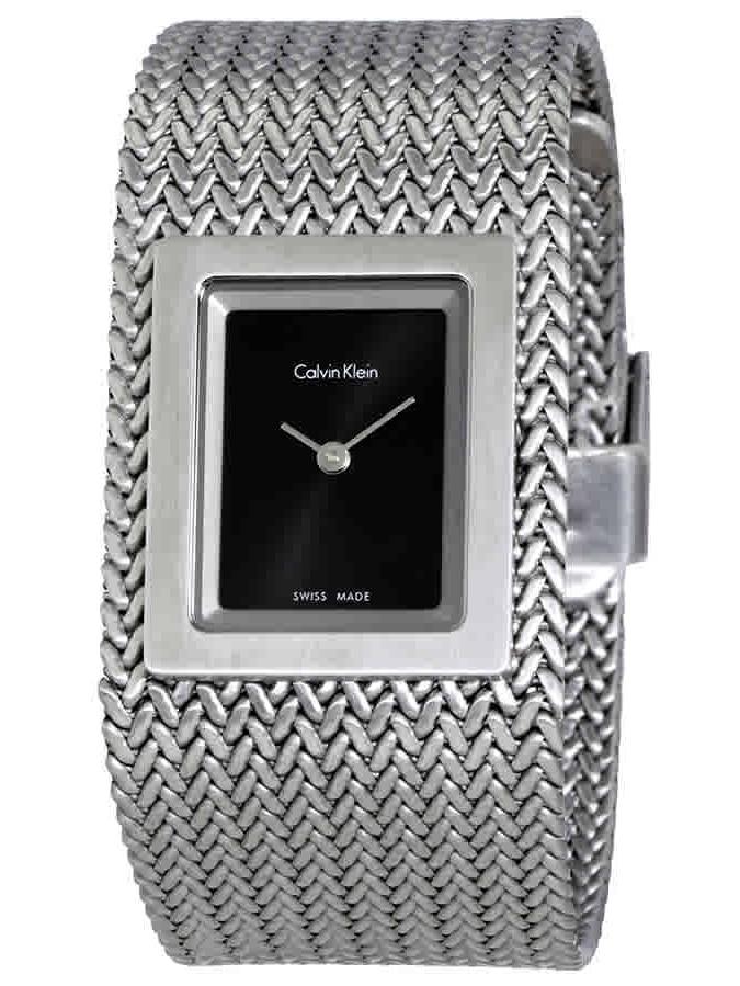 Calvin Klein Mesh Black Dial Steel Mesh Bangle Ladies Watch K5L13131