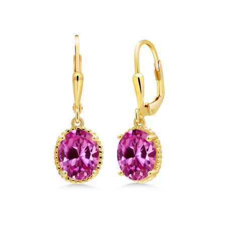 4.80 Ct Oval Pink Created Sapphire 18K Yellow Gold Plated Silver Earrings
