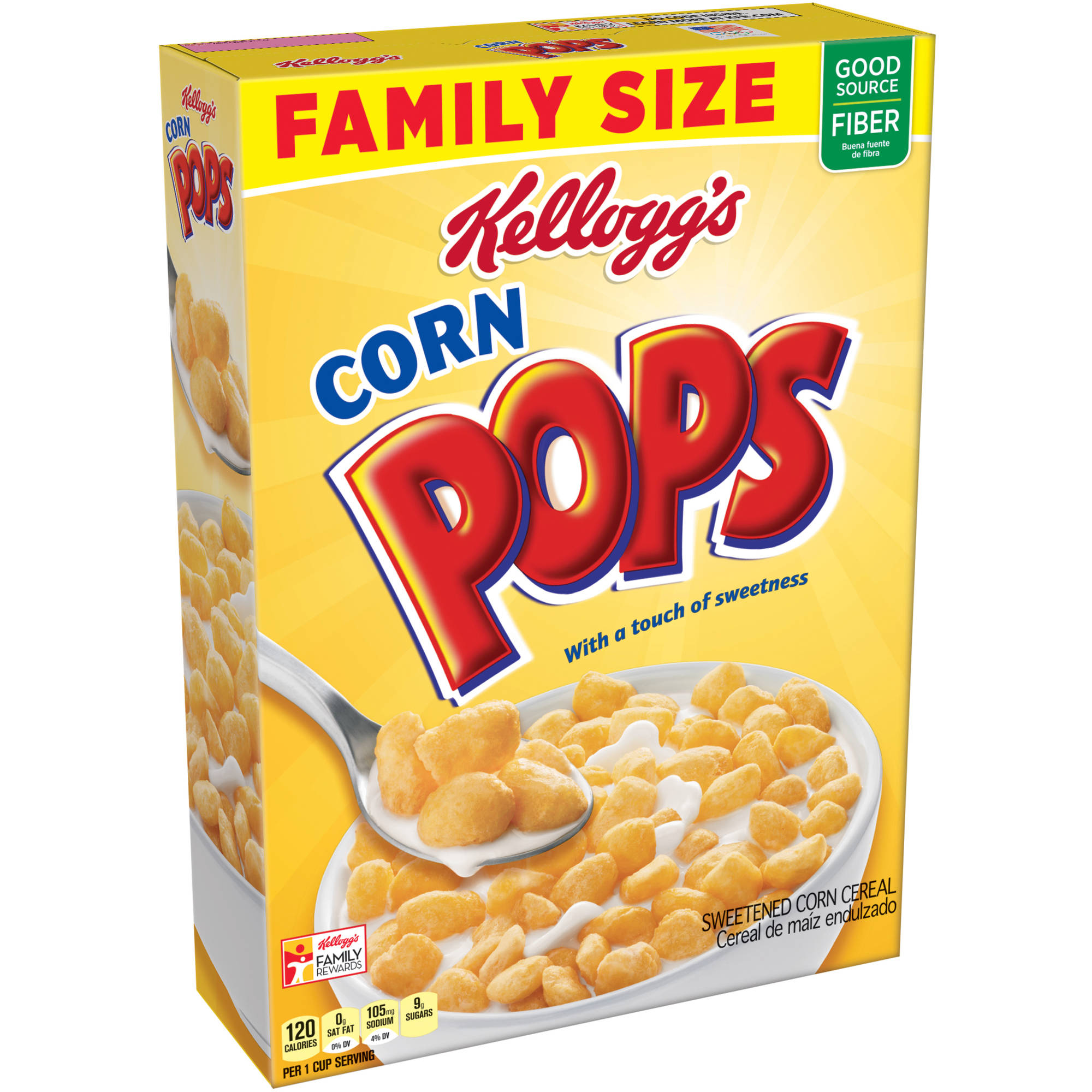 Kellogg's Corn Pops Cereal Family Size, 21.4 ounce box
