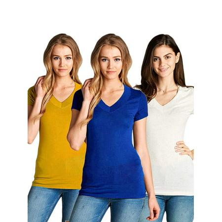 2b9f197b0698f TheLovely - Juniors Plain Basic Deep V-Neck Short Sleeve T Shirts -  Walmart.com