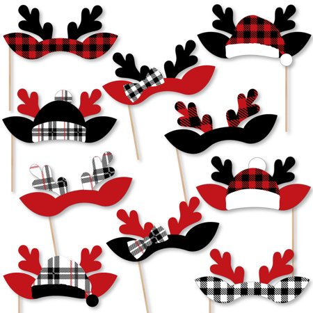 Prancing Plaid Reindeer Antler Headpieces - Paper Card Stock Reindeer Holiday & Christmas Party Photo Booth Props Kit-10](Reindeer Props)
