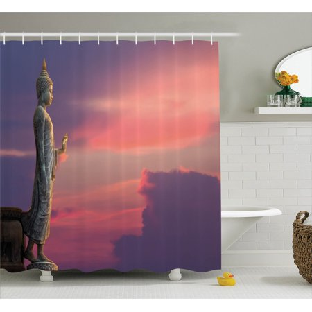 Buddha Decor Shower Curtain Set Big Statue In Magical Sunset Scene Nature Meditation Decorative