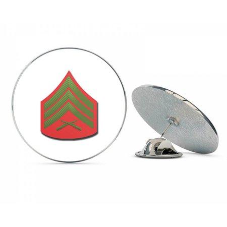 "USMC US Marine Corps E-5 SERGEANT GREEN / RED CHEVRON Steel Metal 0.75"" Lapel Hat Shirt Pin Tie Tack Pinback"