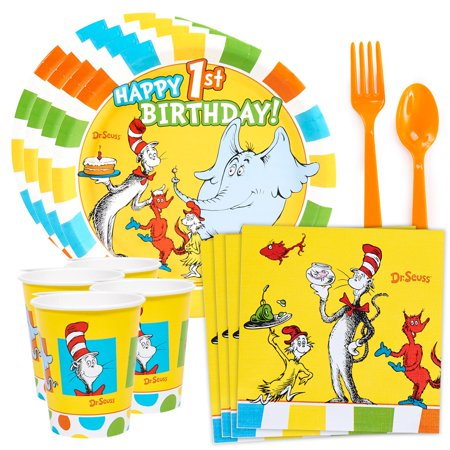 Dr. Seuss Favorites 1st Birthday Standard Tableware Kit (Serves 8) - Spurs Party Supplies
