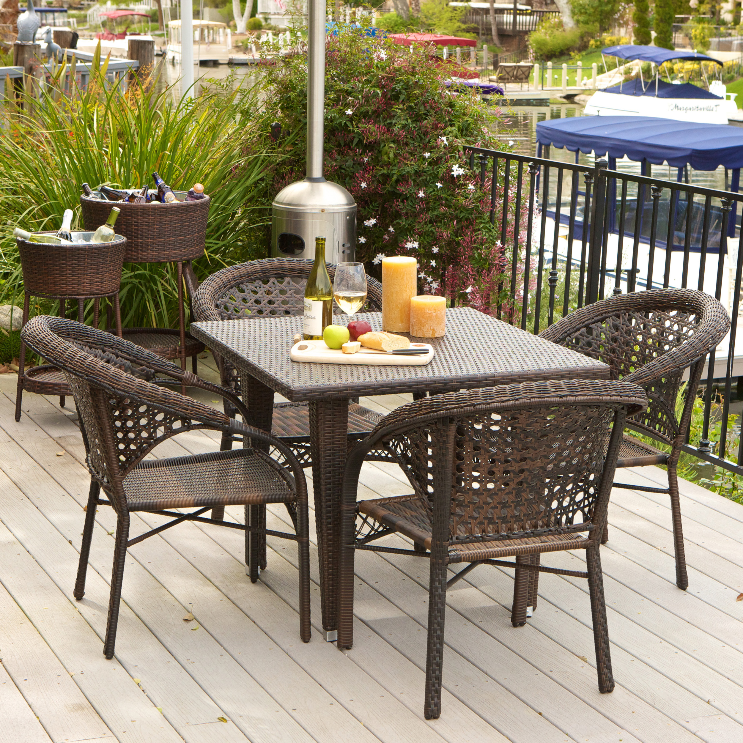 Product Image Quincy 5 Piece Outdoor Dining Set, Multibrown