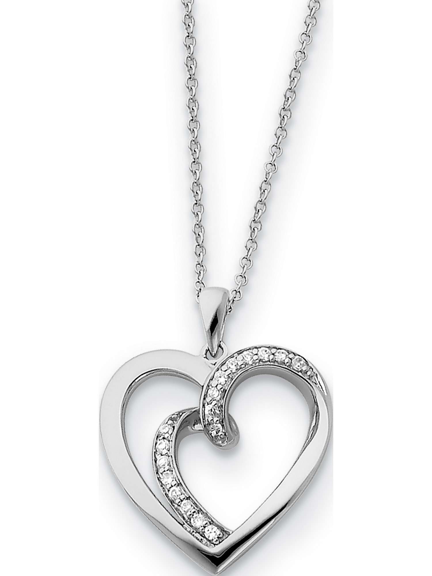 Details about  /Sterling Silver Cubic Zirconia Heart Pendant