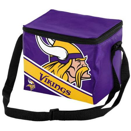 NFL Forever Collectibles Big Logo Stripe 6 Pack Cooler, Minnesota