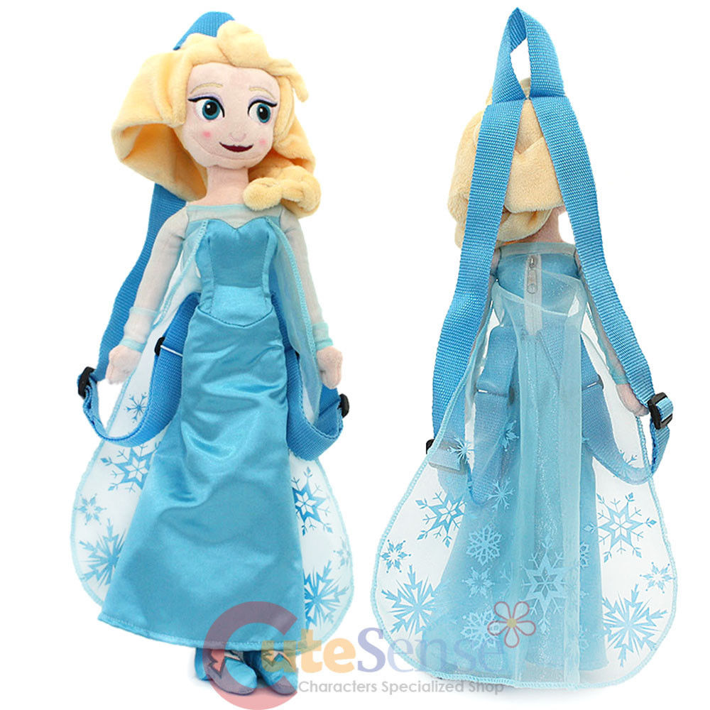 "Disney Frozen Elsa Plush Doll Backpack Snow Queen Anna Sister 18"" Costume Bag"