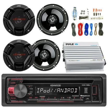 Kenwood KDC168U Car CD Player Receiver Bluetooth USB AUX Radio - Bundle Combo With 4x JVC CSDR620 6.5