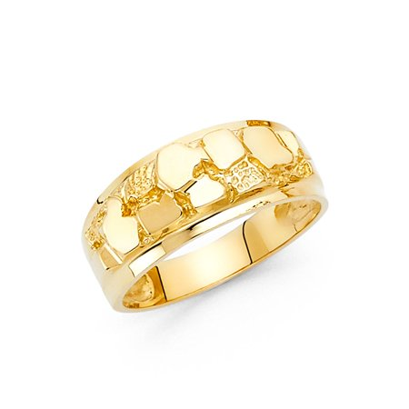 14K Yellow Solid Gold 9MM Nugget Men's Ring - 8.5 14k Solid Gold Nugget