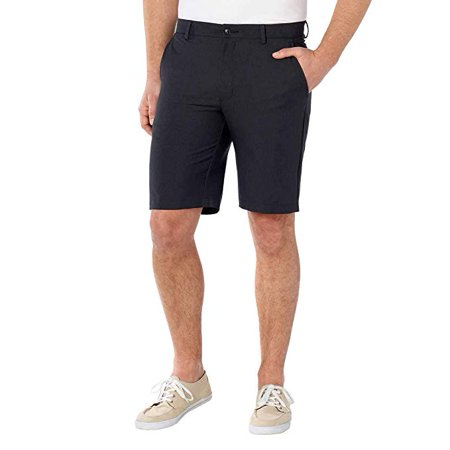 Coat 38 Short - Greg Norman Luxury Microfiber Ultimate Travel Golf Short Black Grey Heathered 38