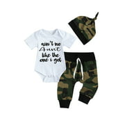Emmababy Ain't No Auntie Like The One I Got Aunties Newborn Baby Boy Clothes Letter Print Romper + Camouflage Pants wiht Hat