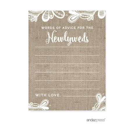 Words of Wisdom  Burlap Lace Wedding Cards Guest Book Alternative, 20-Pack](Burlap Guest Book)