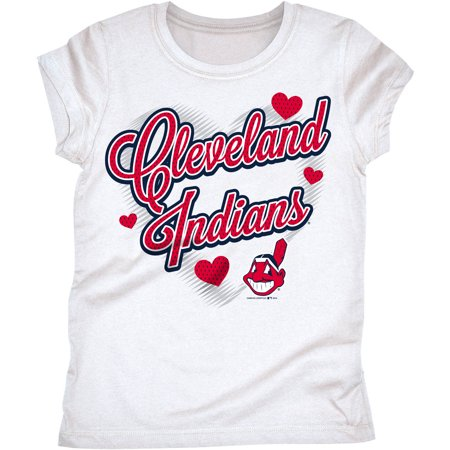 MLB Cleveland Indians Girls Short Sleeve White Graphic Tee