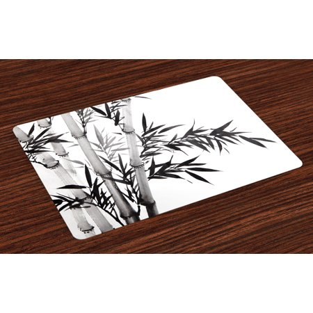 Bamboo Placemats Set of 4 Bamboo Tree Image Traditional Chinese Calligraphy Style Asian Culture Theme, Washable Fabric Place Mats for Dining Room Kitchen Table Decor,Charcoal Grey White, by Ambesonne - Kitchen Themes