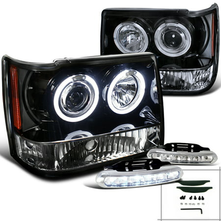 Spec-D Tuning For 1993-1996 Jeep Grand Cherokee Halo Glossy Black Projector Headlights + Led Fog Lamps (Left + Right) 1993 1994 1995 (2007 Jeep Grand Cherokee Fog Light Installation)
