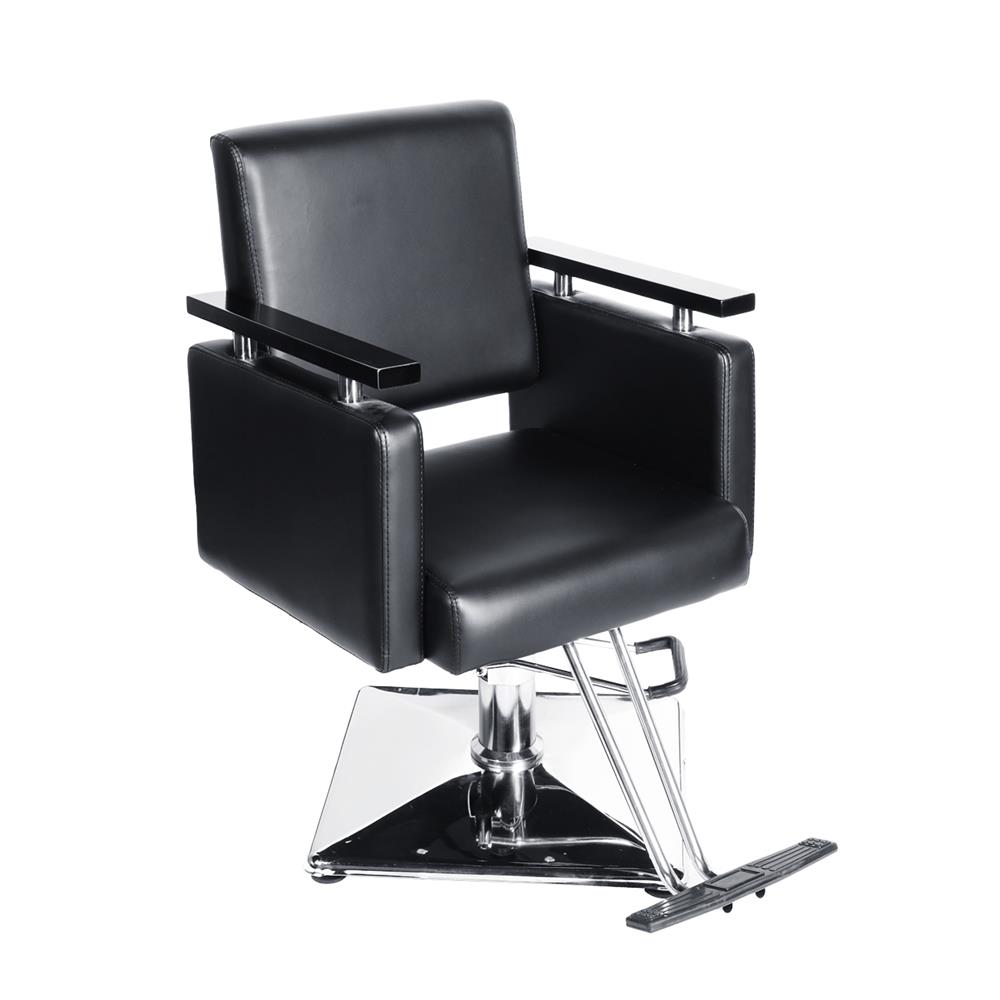 Black Square Salon Barber Chair, BEAMNOVA Hydraulic Chair Heavy Duty Reclining Beauty