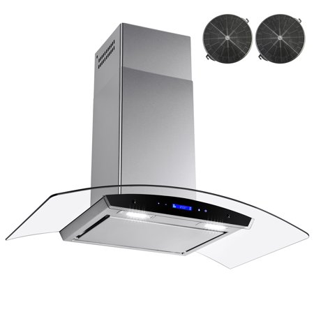 AKDY 36 in. Wall Mount Range Hood in Stainless Steel with Tempered Glass, Touch Control and Carbon Filters