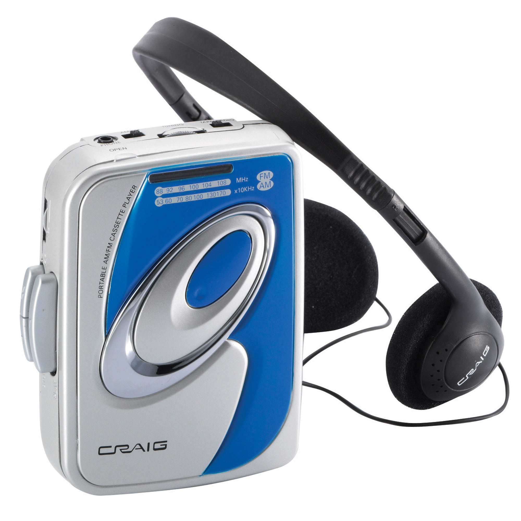 Craig Personal AM/FM Radio Cassette Player with Headphones