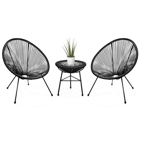Best Choice Products 3-Piece Patio Woven Rope Acapulco Conversation Bistro Set Outdoor Furniture for Backyard, Porch w/ Glass Top Table, 2 Chairs,