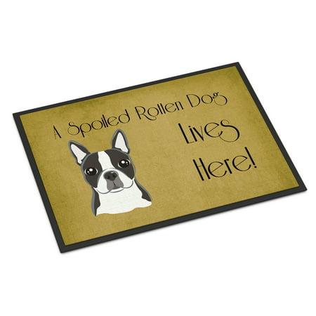 Boston Terrier Spoiled Dog Lives Here Door Mat (Boston Terrier Door Mat)