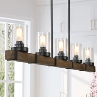 Industrial 5-lights Kitchen Island Lighting with Disdressed Wood Pendant Lighting for Dining Romm