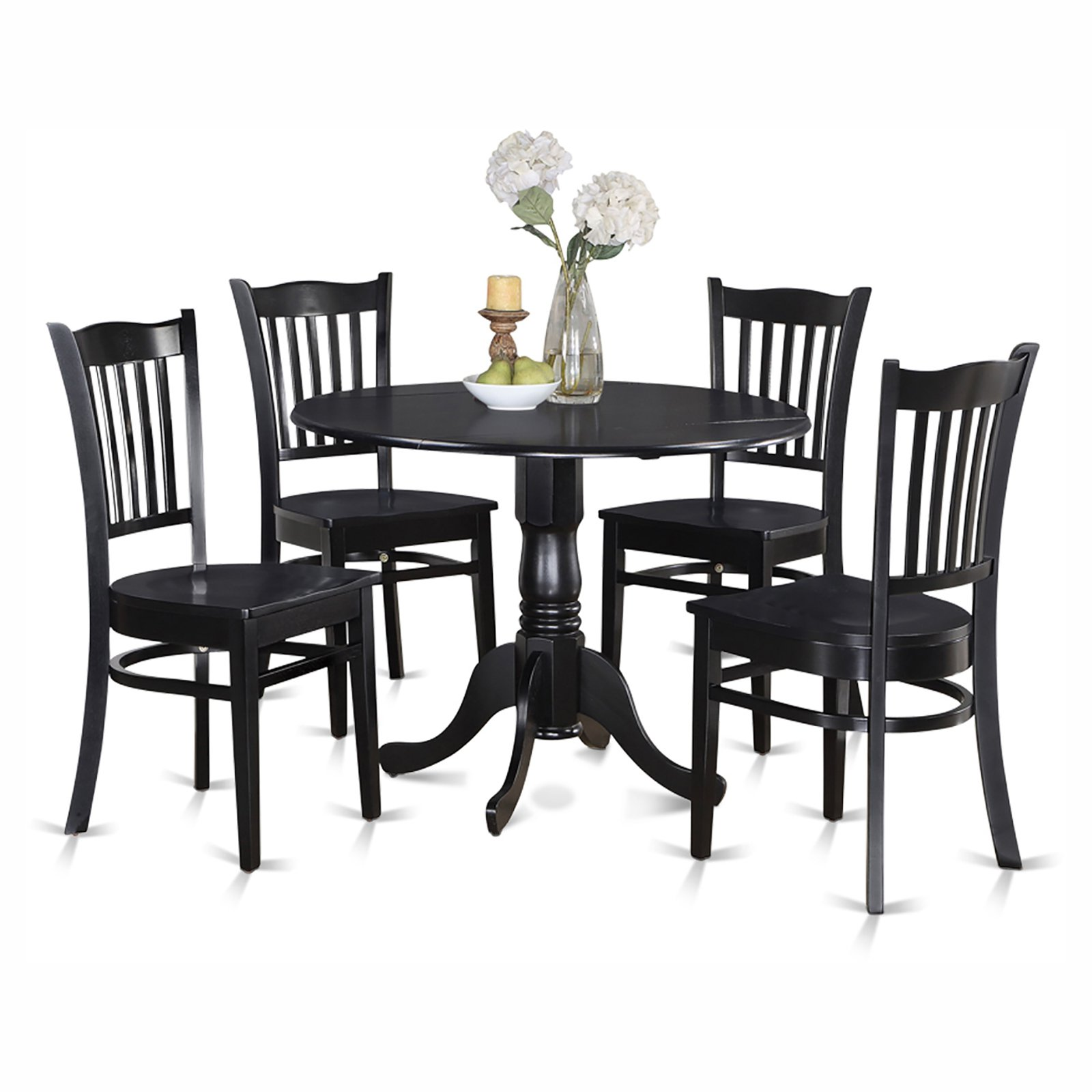 East West Furniture Dublin 5 Piece Drop Leaf Dining Table Set with Groton Wooden Seat Chairs